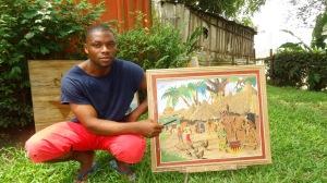 L'artiste camerounais Jean Jacques Ebolo présente une toile faite à base de feuilles de bananier. Photo Mathias Mouendé