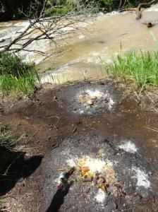 Des noix de kola, du sel et de l'huile de palme déversés au sol. Photo Mathias Mouendé